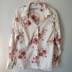 Cream Button Down with Red Floral Design